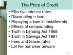 the price of credit