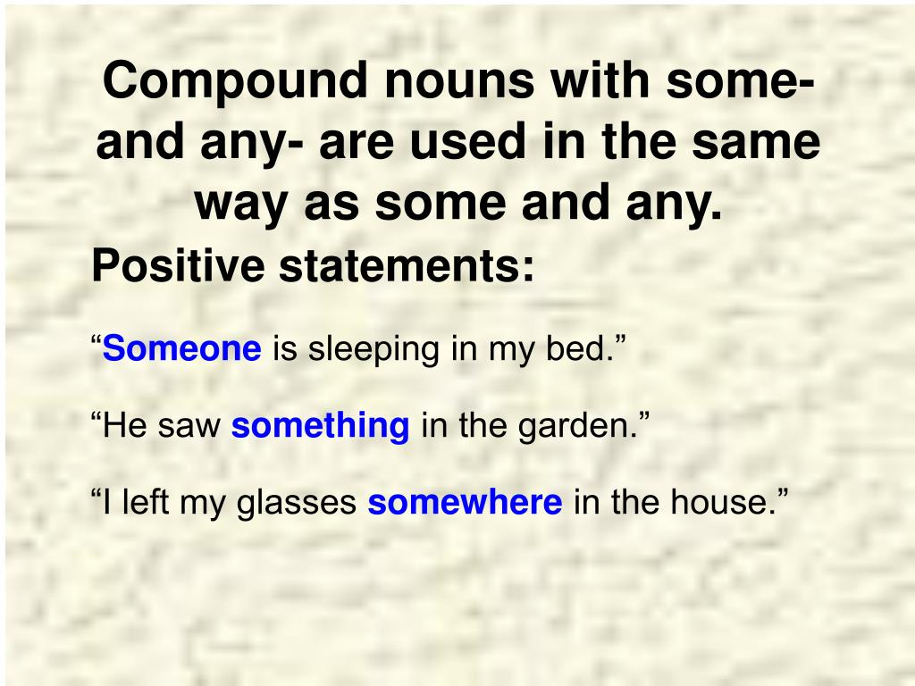 Compound nouns with some- and any- are used in the same way as some and any.