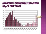 monetary expansion 1976 2008 m 3 per year