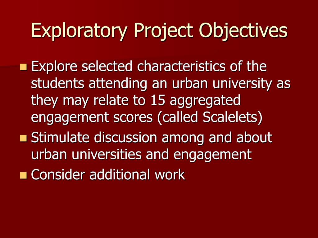 Exploratory Project Objectives
