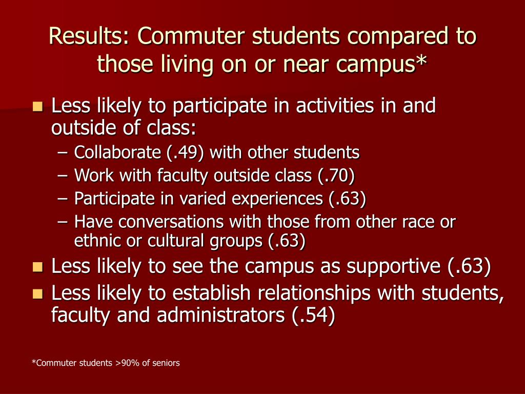 Results: Commuter students compared to those living on or near campus*
