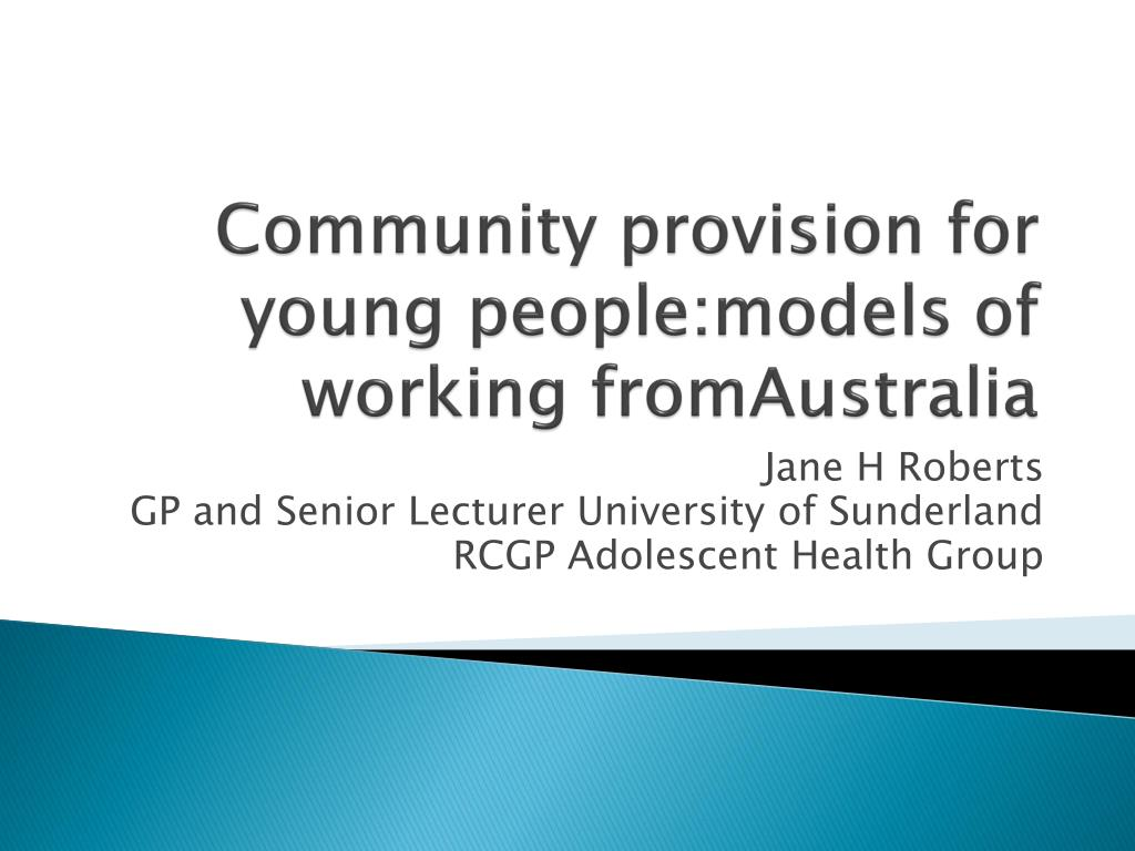community provision for young people models of working fromaustralia l.