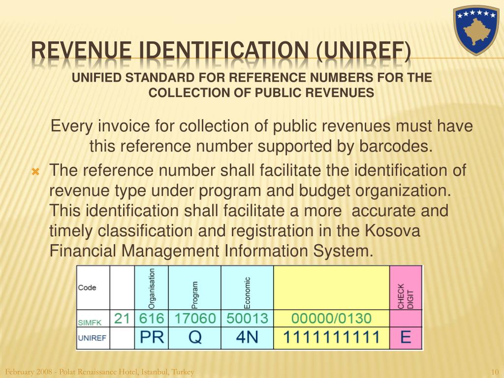 UNIFIED STANDARD FOR REFERENCE NUMBERS FOR THE COLLECTION OF PUBLIC REVENUES