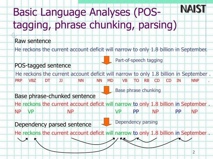 Basic language analyses pos tagging phrase chunking parsing