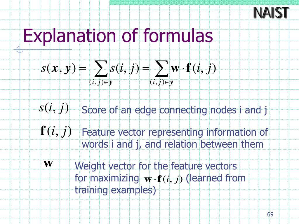 Explanation of formulas