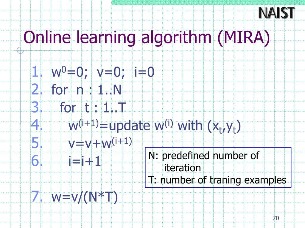 Online learning algorithm (MIRA)