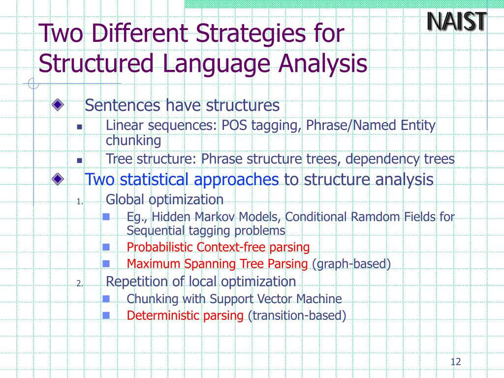 Two Different Strategies for Structured Language Analysis