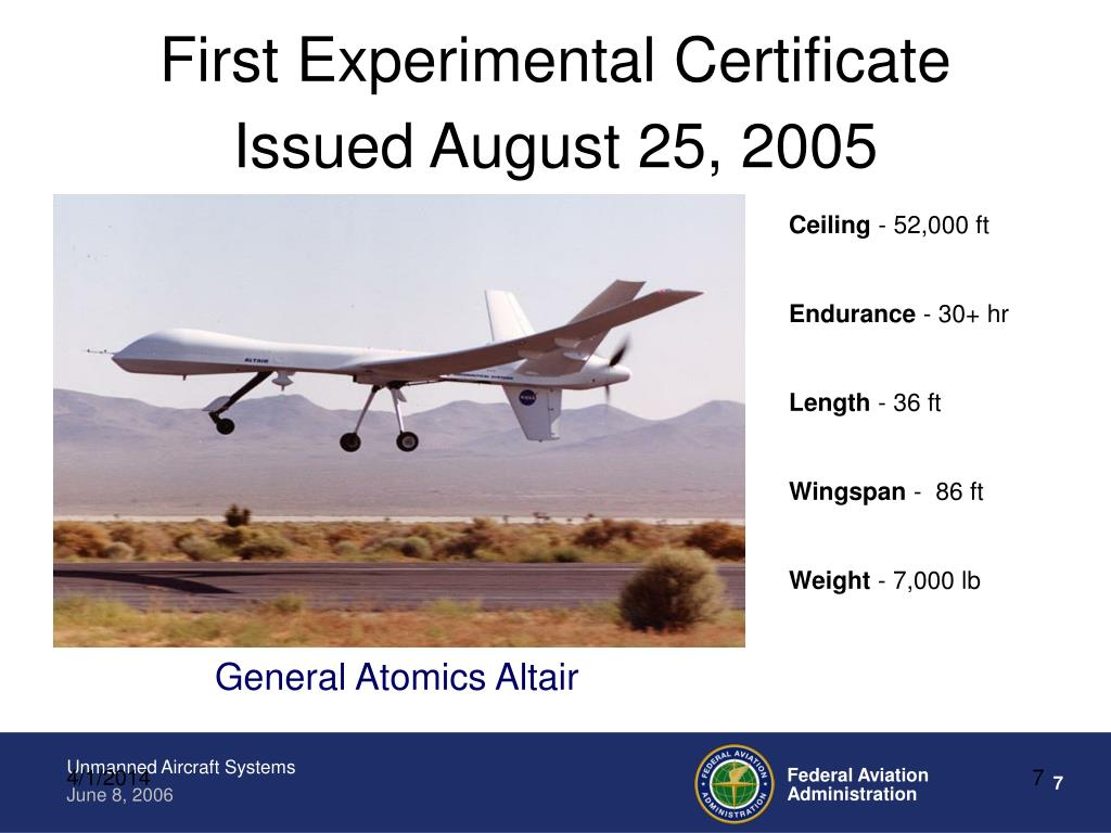 First Experimental Certificate
