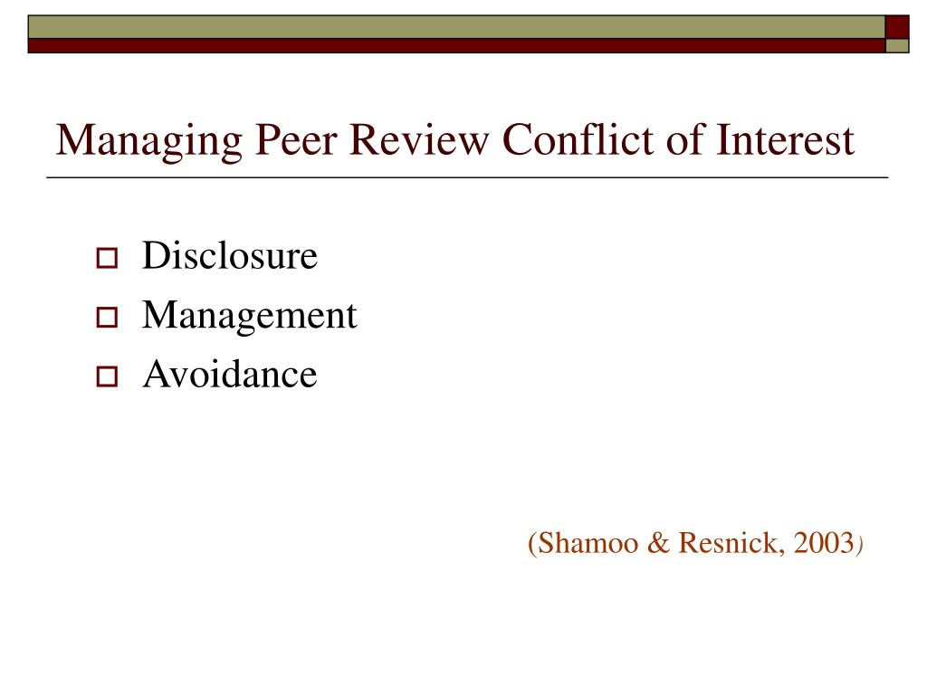 Managing Peer Review Conflict of Interest
