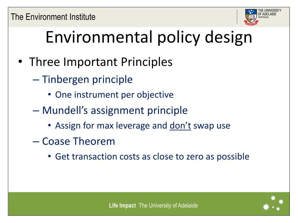 Environmental policy design