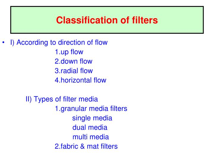 Classification of filters