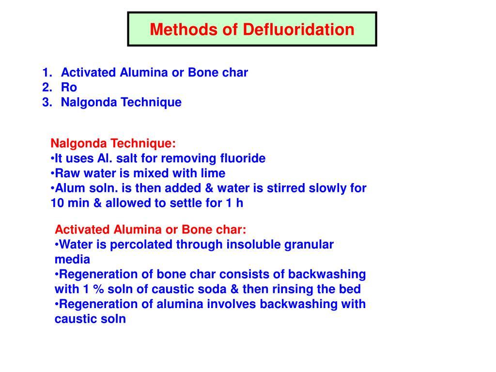 Methods of Defluoridation