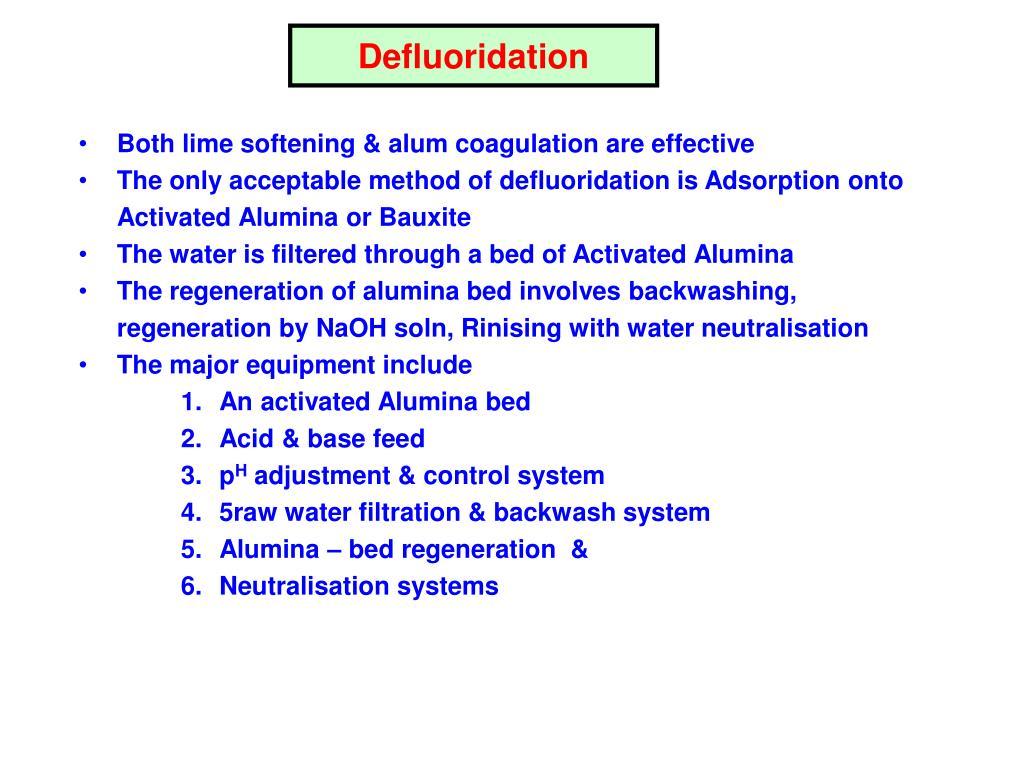 Defluoridation