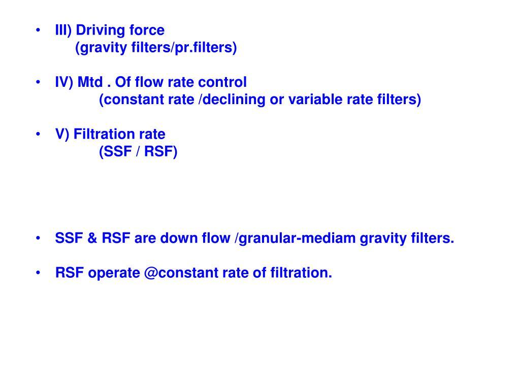 III) Driving force