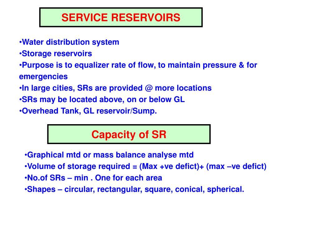SERVICE RESERVOIRS