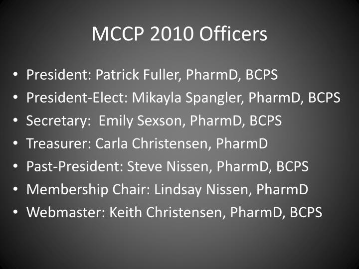 Mccp 2010 officers