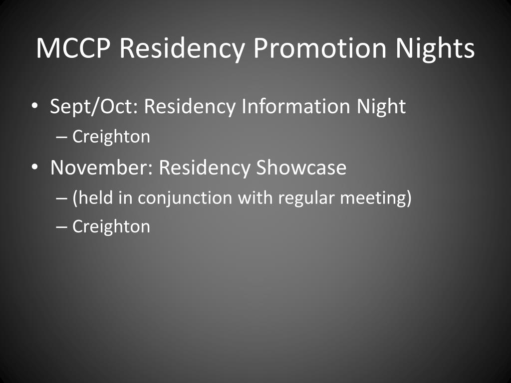 MCCP Residency Promotion Nights