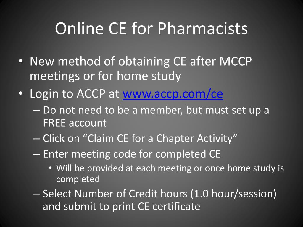 Online CE for Pharmacists