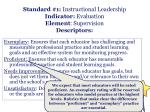 standard 1 instructional leadership indicator evaluation element supervision descriptors