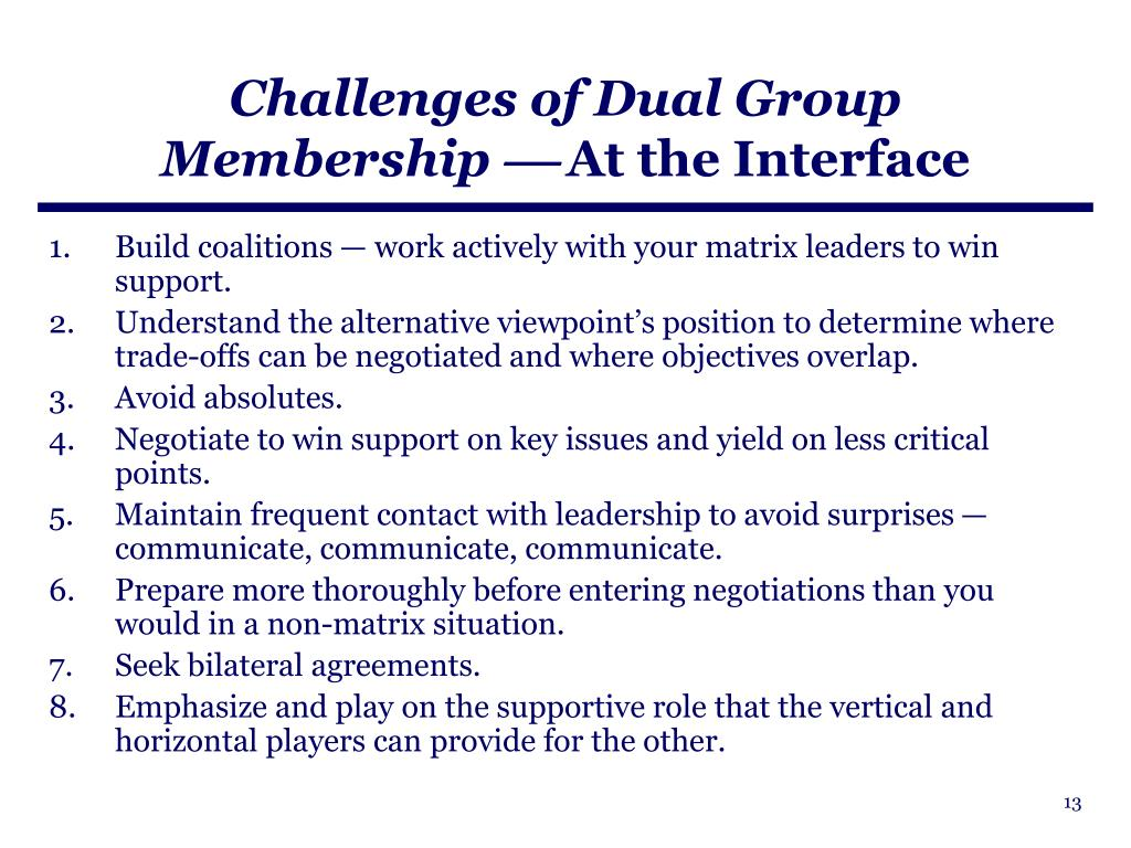 Challenges of Dual Group