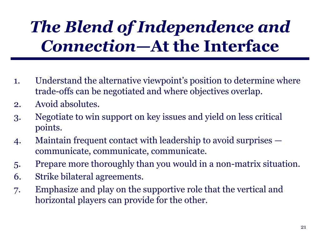 The Blend of Independence and Connection—