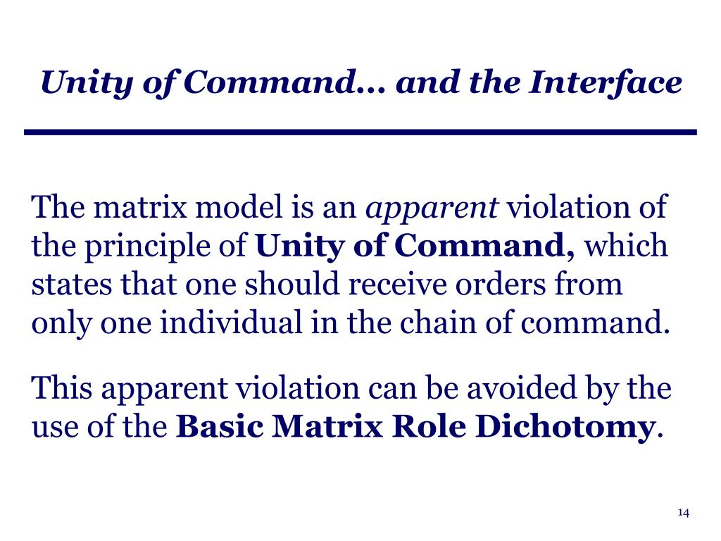 Unity of Command... and the Interface