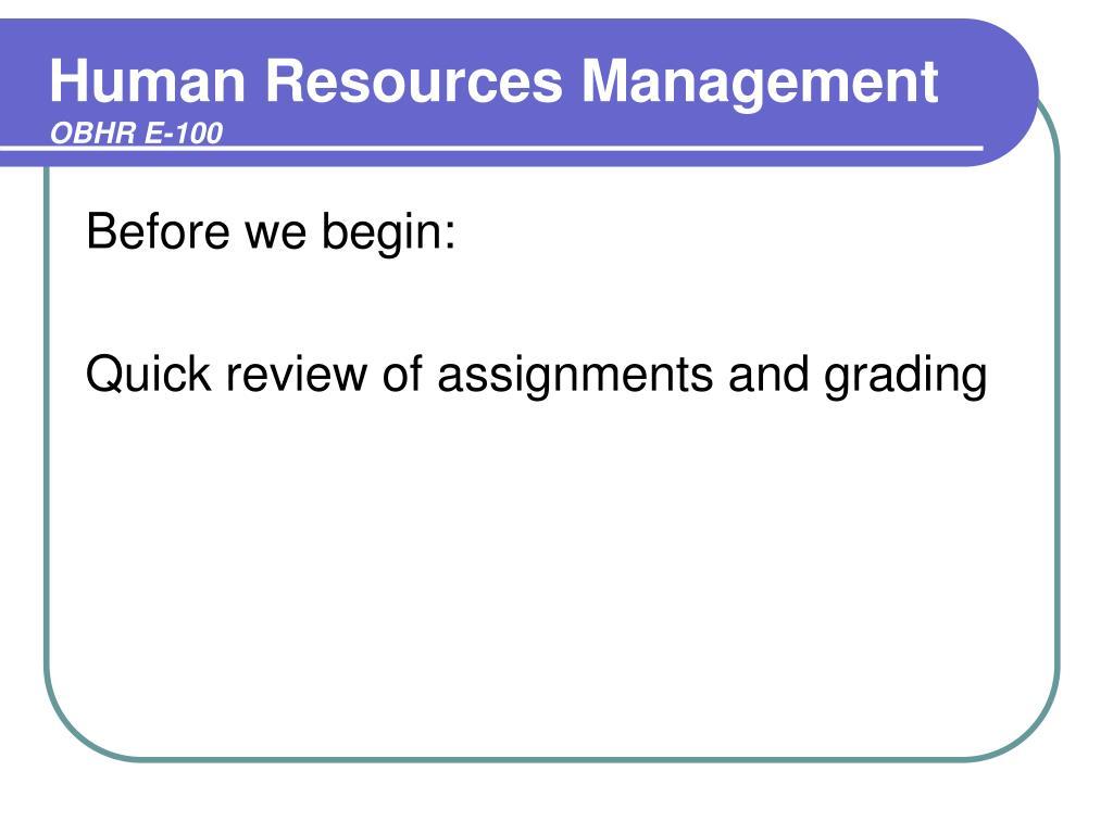 human resources management obhr e 100 l.