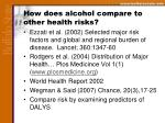 how does alcohol compare to other health risks
