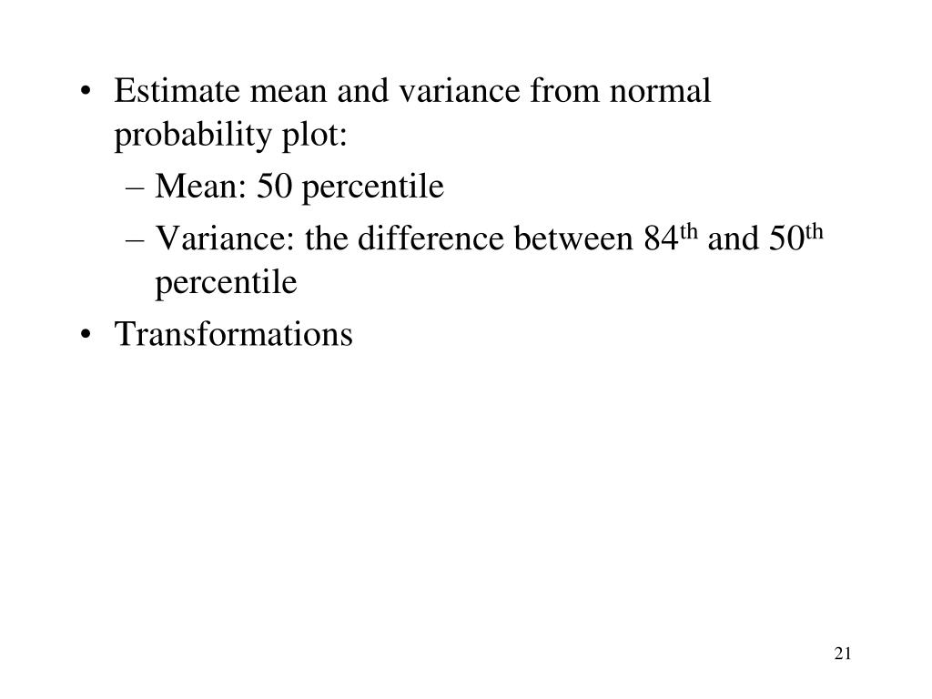 Estimate mean and variance from normal probability plot: