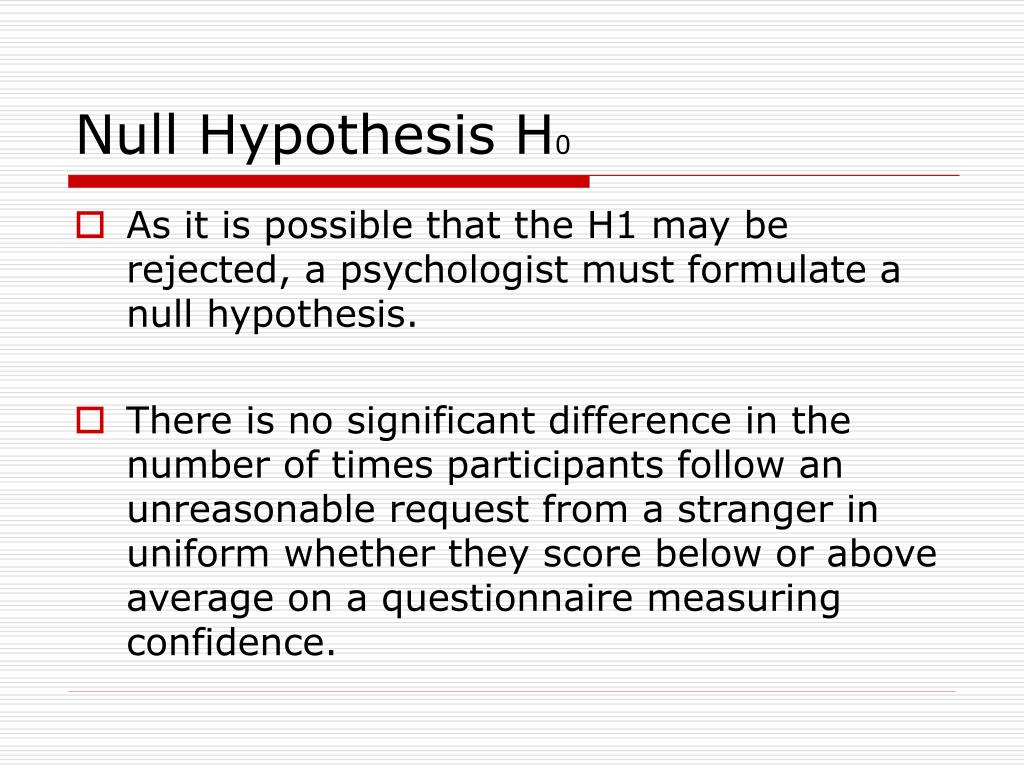 Null Hypothesis H