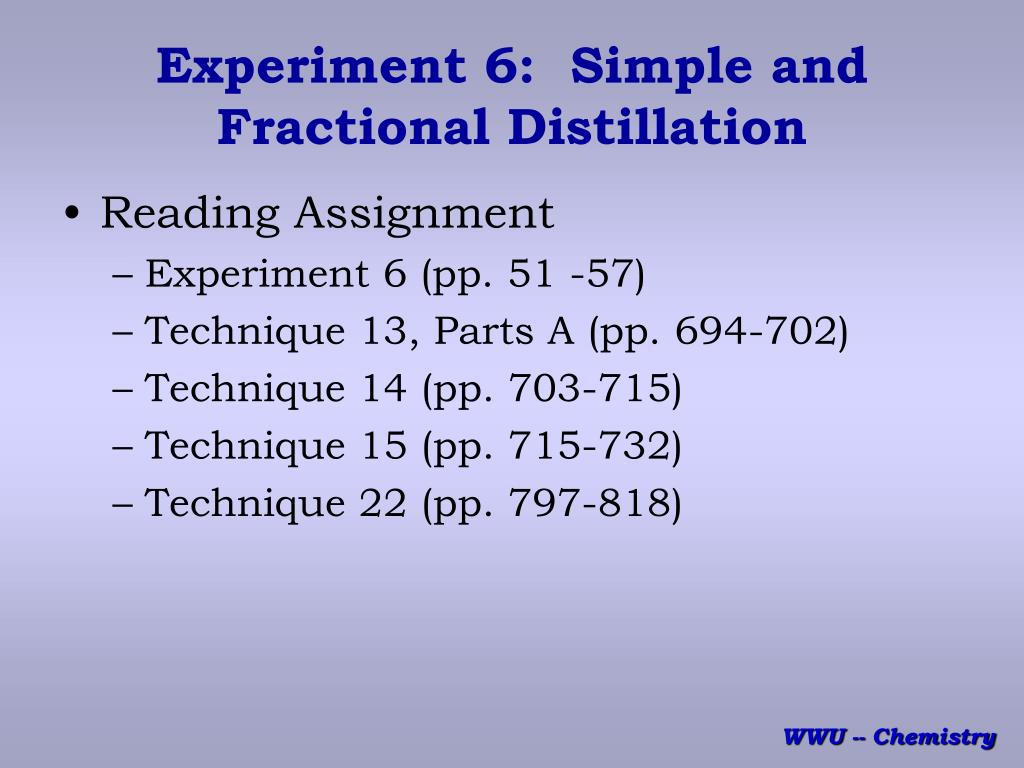 experiment 6 simple and fractional distillation l.