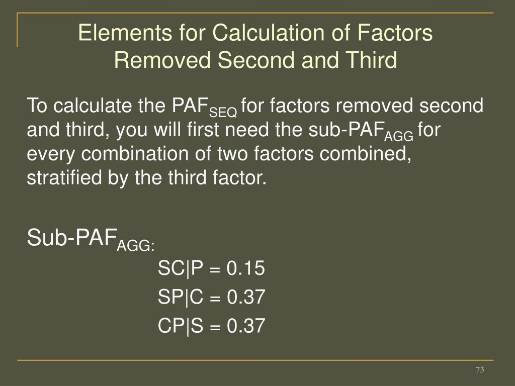 Elements for Calculation of Factors Removed Second and Third