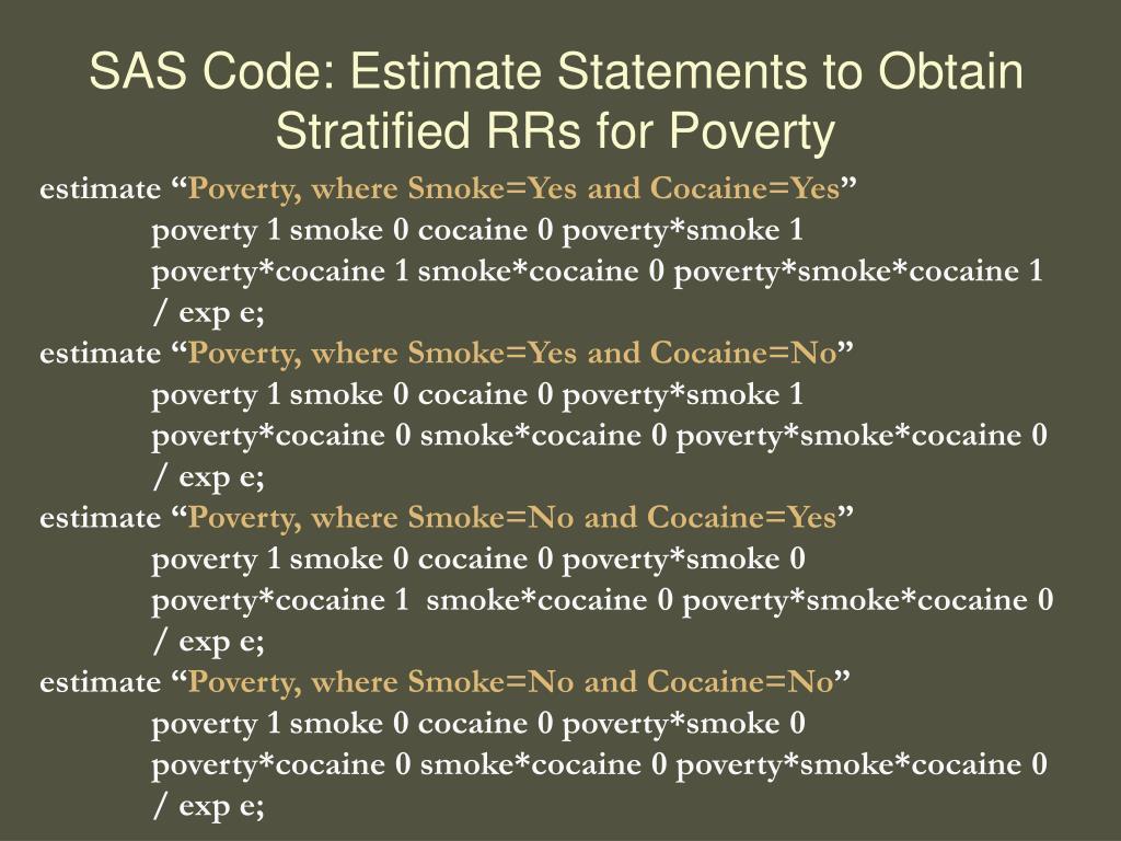 SAS Code: Estimate Statements to Obtain