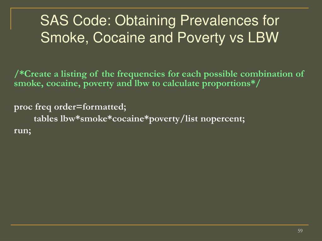 SAS Code: Obtaining Prevalences for