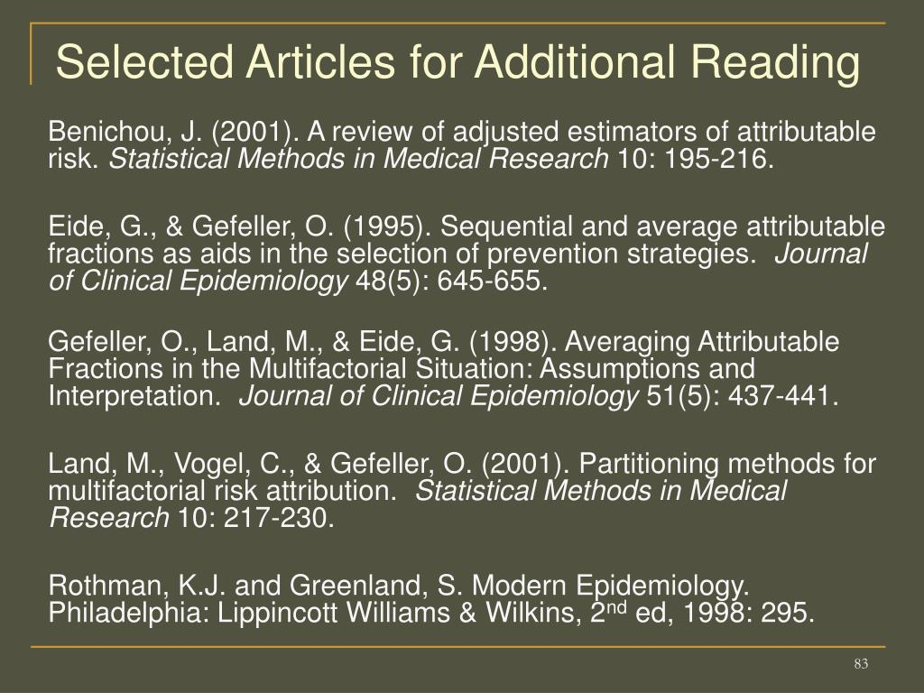 Selected Articles for Additional Reading