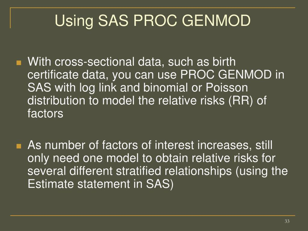 Using SAS PROC GENMOD