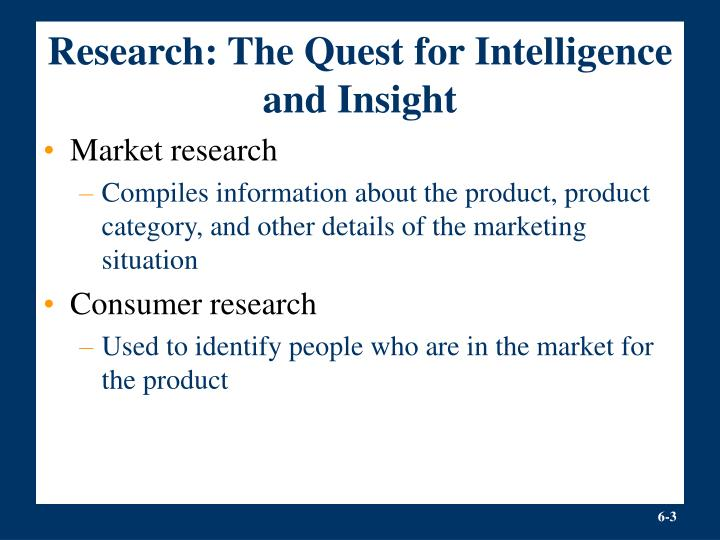 Research the quest for intelligence and insight
