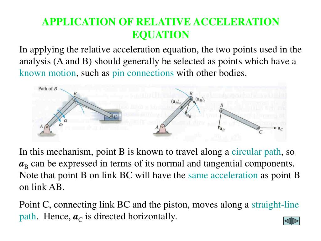 APPLICATION OF RELATIVE ACCELERATION EQUATION