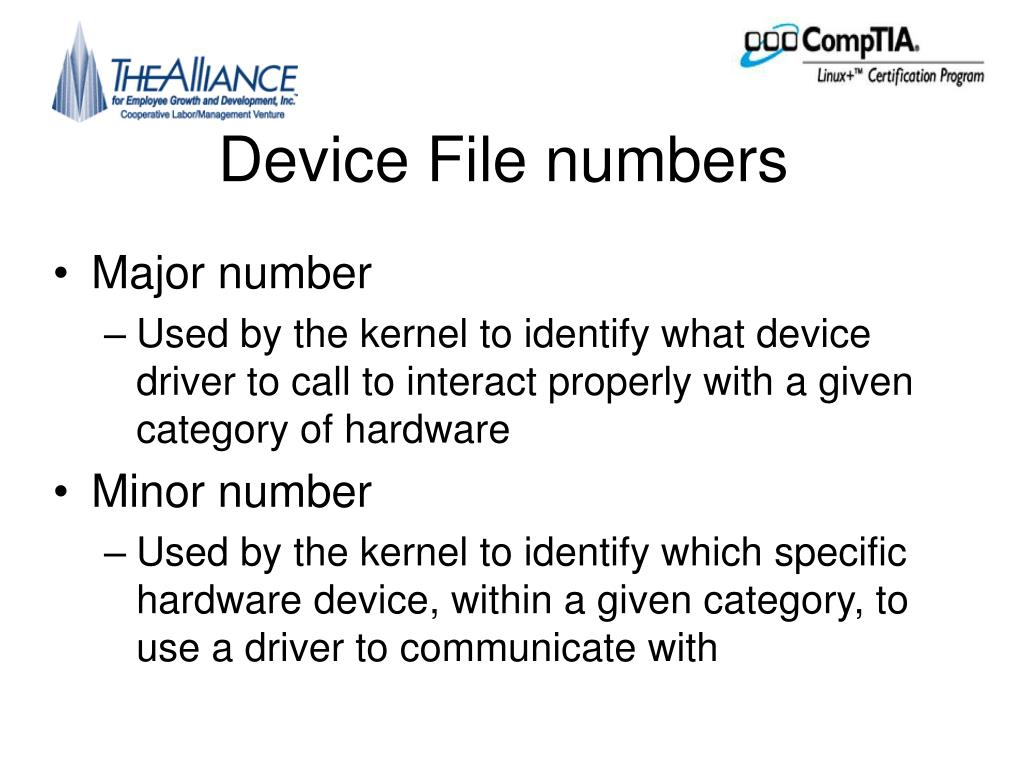 Device File numbers