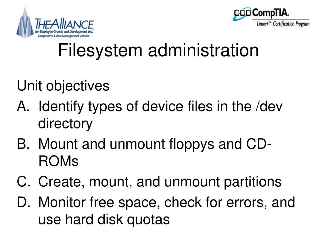 Filesystem administration