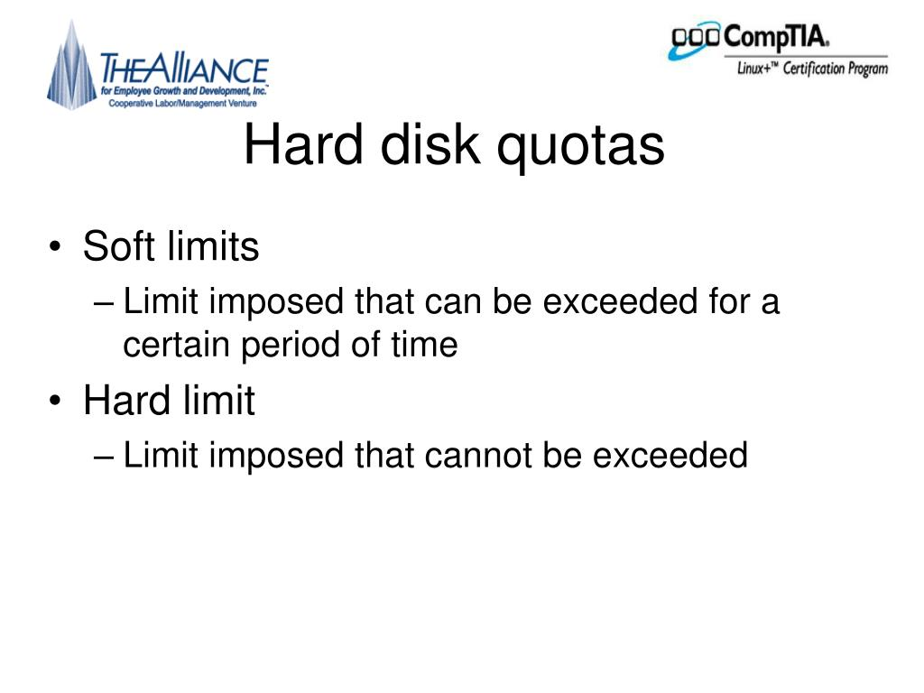 Hard disk quotas