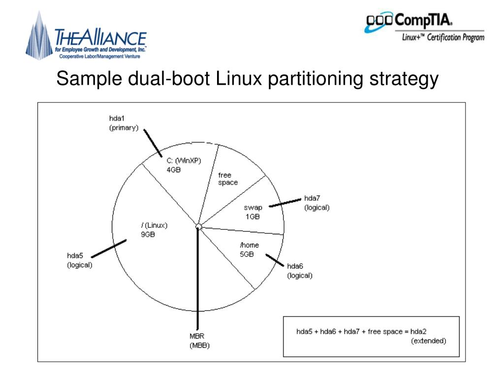 Sample dual-boot Linux partitioning strategy