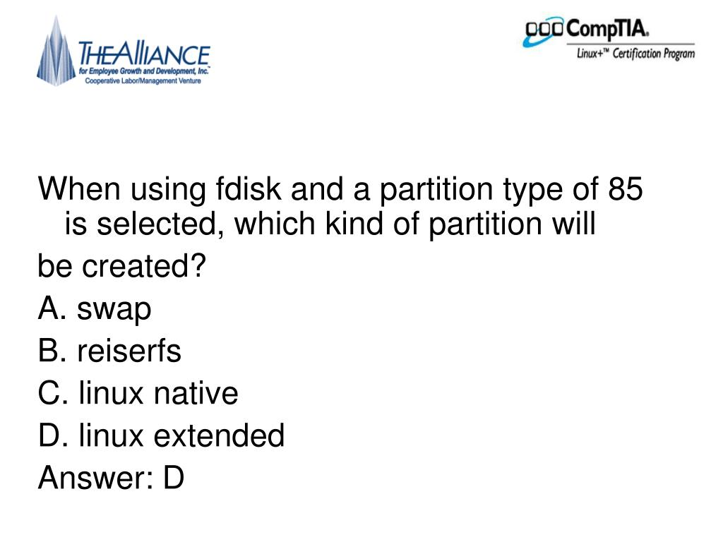 When using fdisk and a partition type of 85 is selected, which kind of partition will