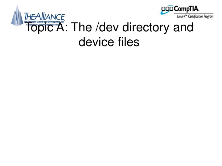 Topic a the dev directory and device files
