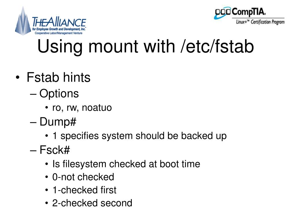 Using mount with /etc/fstab