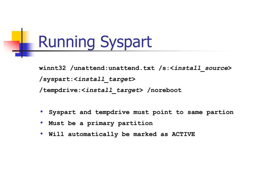 Running Syspart