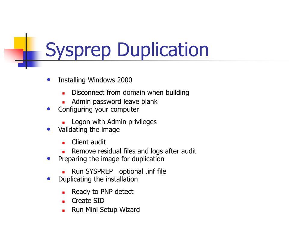 Sysprep Duplication