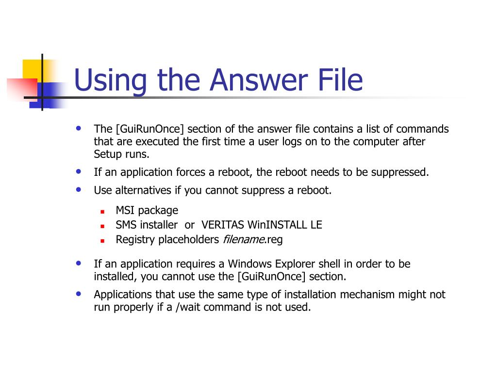Using the Answer File