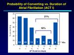 probability of converting vs duration of atrial fibrillation act i