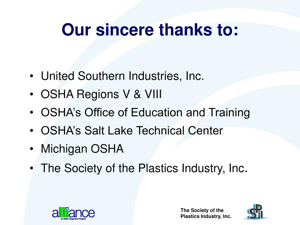 Our sincere thanks to: